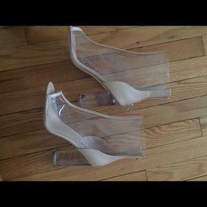 Steven Madden clear/cream booties